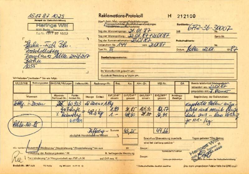 Reklamations-Protokoll von 1987