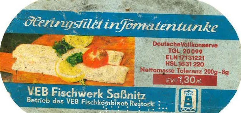 Etikett Heringsfilet in Tomatentunke