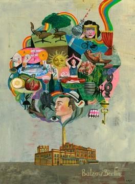 """Illustration """"Bunter Baum aus künstlerisch gestalteten Motiven (Gesichter, Sonne, Schlüssel, Früchte, Regenbogen) erwächst einem Backsteingebäude"""", mit Schriftzug Bötzow Berlin"""